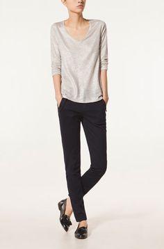LAMINATED V-NECK T-SHIRT WITH 3/4 SLEEVES - T-shirts - NEW SEASON - WOMEN - United Arab Emirates