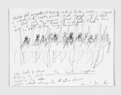 Damien Hirst  The Last Supper with Skeletons  2003  Ink on paper  299 x 399 mm | 11.8 x 15.7 in