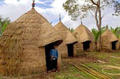 The courtyard of the village of Chencha, Ethiopia, with the typical huts. Photographed by Sergio Pessolano.