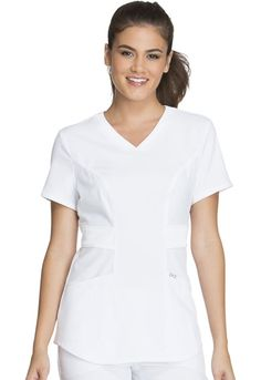 9ed7d14f8c4 Dickies Scrubs Women's Xtreme Stretch Junior Fit Mock Wrap Top, White,  Medium: Junior fit mock wrap top features a front inset and patch pockets  with stitch ...