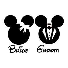 Disney Bride Groom Die Cut Vinyl Decal PV1172