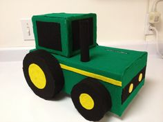 Made this John Deere Valentine's Day box for my 4 year old boy. Great idea for boys who like tractors. Valentine Boxes For School, Kinder Valentines, Unicorn Valentine, Valentines For Boys, Valentines Gifts For Boyfriend, Valentine Day Crafts, Valentine Cards, Valentine Ideas, Printable Valentine