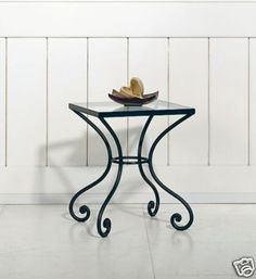 New Wrought Iron lamp/side table/Bedside Glass Top