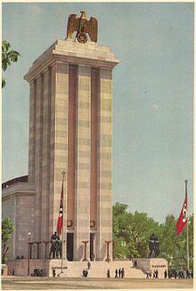 The massive German Pavilion Exposition Internationale Paris 1937 Welthauptstadt Germania, Expo Paris, German Architecture, Nazi Propaganda, High Castle, Germany Ww2, Political Art, The Third Reich, Poster Pictures