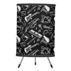 Shop Black & White Instruments Pattern Tripod Lamp created by ManCavePortal. Decorative Lamps, Linen Lamp Shades, Base Trim, Incandescent Light Bulb, Black Lamps, Trim Color, Tripod Lamp, Rice Paper, White Patterns
