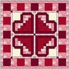 Log cabin blocks are so much fun and can create so many different pictures. I had a lot of fun creating this Log Cabin Heart Quilt Block Pattern and all the pieces that match. Beginner to Advanced, this pattern is broken down to its simplest form.