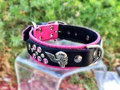 Hot Pink /Black Leather Flying Skulls Dog by CaliGirlCollars, $48.00