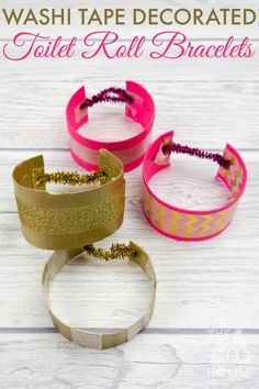 Simple Washi Tape Decorated Toilet Roll Bracelets or Cuffs are a great kids craft perfect for up cycling cardboard tubes and so easy to make. These are just about the cutest, simplest TP roll craft for kids.