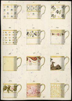 Anonyme France, 19e siècle Modèles de tasses litron, crayon, aquarelle, 43,5 x 31,2 cm Les Arts Décoratifs, Paris, CD 3860.13