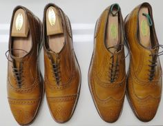 Allen Edmonds Walnut 6 eyelet perfed and pinked Balmorals. Strands on the left and Mc Allisters on the right.