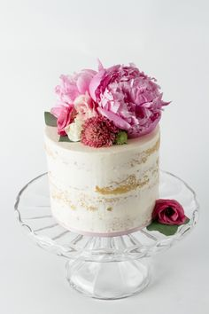 nearly naked cake - sooo pretty! we ❤ this! moncheribridals.com #nakedweddingcake