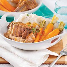 Braisé de porc à l'orange à la mijoteuse Roast Beef, Pot Roast, Carnitas, Slow Cooker Recipes, Crockpot, Steak, Menu, Turkey, Yummy Food