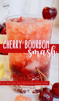 Cherry Bourbon Smash has so much depth and is so refreshing and delicious. Made with fresh (or frozen) cherries, vanilla, smoky bourbon, maple syrup and fresh lemon juice it's quite simply, the BOMB! Full recipe via Cocktails Vodka, Liquor Drinks, Cocktail Drinks, Beverages, Cherry Cocktails, Cocktail Parties, Refreshing Cocktails, Martinis, Craft Cocktails