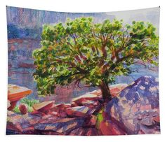 Living on the Edge, Southwest tapestry wall art from Steve Henderson Collections. Have you ever felt like the lone tree in the landscape, far from the forest and standing all out on your own? It's not necessarily a bad place to be, because away from the crowded woods, you find yourself with an incredible view, not to mention the strength it takes to grow strong and tall away from the group. #grandcanyon #southwest #southwestart #lonetree #shenderson #StayThinkingStayFree #arizona