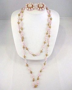 1950s Large Chunky Gum Ball Pink Faux Pearl Gold Tone Pins & Long Necklace Set