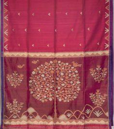 Karomi Handwoven Tree of Life Jamdani Silk Sari 1006845 - Saris / Jamdani Saris - Parisera