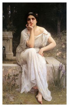 Meditation 1899 realistic girl portraits Charles Amable Lenoir art for sale at Toperfect gallery. Buy the Meditation 1899 realistic girl portraits Charles Amable Lenoir oil painting in Factory Price. Classic Paintings, Old Paintings, Beautiful Paintings, Contemporary Paintings, Woman Painting, Figure Painting, Lenoir, William Adolphe Bouguereau, Academic Art