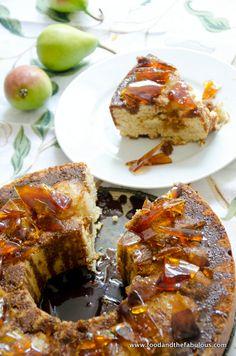 Pear Cake with Salted Caramel Sauce and Caramel Shards