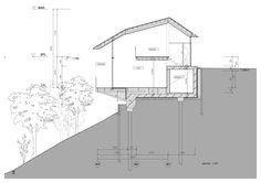 K House, a small house in Japan by D.I.G Architects -- tiny house hillside section.
