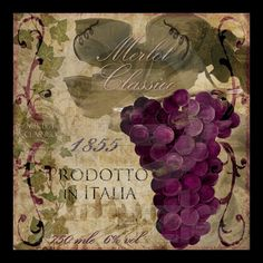 Vintage Wine Label Merlot Classico Italian Print from Zazzle.com