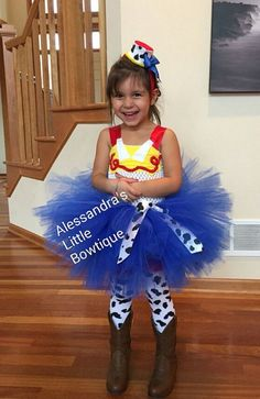Toy Story's Jessie the cowgirl inspired tutu dress. Extra fluffy and fun Comes with the top hat pictured. Leggings are not included but can be purchased seperately. If you can measure your child that'