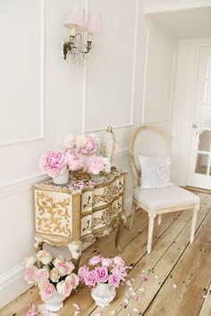 Jo-Anne Coletti's Shabby decorating tips. This little Italian Florentine dresser is so perfect with a dainty chair! #somethingflorentine