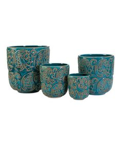 Another great find on #zulily! Paisley Blue Planter Set #zulilyfinds
