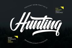 Hunting Script Font A modern script typeface, this font made with perfect combining of each characters. It looks original and can be used for all your project needs. This versatile script type includes many different alternatives. Script Typeface, Cursive Fonts, Handwritten Fonts, Calligraphy Fonts, Tattoo Script, Tattoo Fonts, Modern Calligraphy, Fancy Fonts, New Fonts