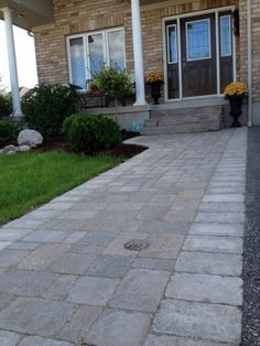 Permacon Paleo with trim Landscaping Ideas, Garden Landscaping, Front Entrances, Walkways, Lawn And Garden, Porches, Paleo, Sidewalk, House Ideas