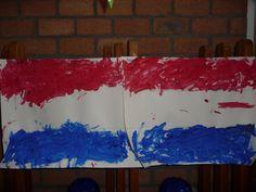 Map juf Ineke: het koningshuis. Vooral jongste kleuters vinden het heerlijk om deze vlaggen in te verven.