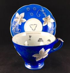 It's rare I find a cup this brightly blue. Mysterious and calming at the same time. Gaze into your future. Mystery Novels, Mystery Series, Reading Tea Leaves, Fortune Telling, Cozy Mysteries, Vintage Tea, Teacups, Cup And Saucer, Tea Time