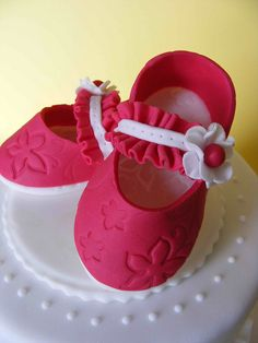 Little girl's pink shoes cake topper - so sweet