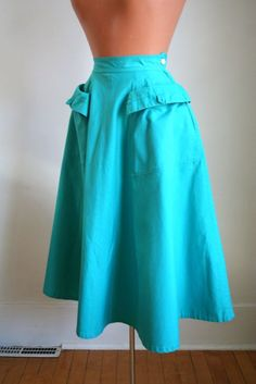 vintage 40/50s skirt - AQUA GREEN cotton semi full skirt / XXS. $38.00, via Etsy.