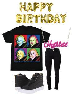 """""""Happy Birthday Albert Einstein!"""" by shophmns on Polyvore featuring Vans, Frame Denim, alberteinstein, nerdalert, Warhol and birthdayoutfit"""