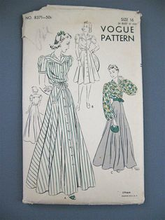 Vintage 1930s or early 40s sewing pattern by Vogue by Fancywork, $32.00 YOKE BLOUSE AWESOME WITH STRIPES