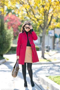 #Autumn Colors #OOTD in Red Coat + Camel Pleather Skirt