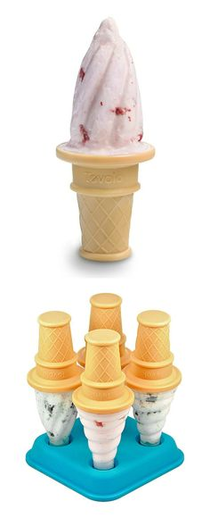 Tovolo Ice Cream Pop Mold - Simply fill the plastic sleeves with favorite beverages or yogurt, twist the plastic cones on top and set the tray in the freezer