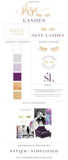 Skye Lashes // Brand Style Board // Designed by Styled & Simplified Custom branding and logo design for Skye Lashes - beauty logo, logo design, mood board inspiration, graphic design, branding