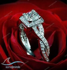 2.50 CT Twist Shank Princess Cut D/VVS1 Lab Diamond Engagement Ring For Women's #aonejewels #SolitairewithAccents