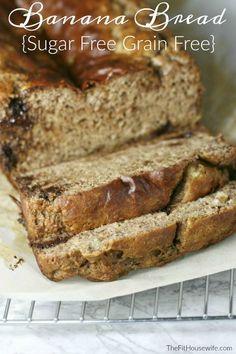 Sugar Free Grain Free Banana Bread. Low Carb, Keto, Dairy Free, Paleo, Grain Free, Gluten Free, Sugar Free, Soy Free
