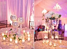 Centerpiece using candle sticks - chantillyweddingphotography.com