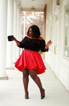 Shapely Chic Sheri - Red Alert: Sheer Polka Dot Blouse + Skater Skirt