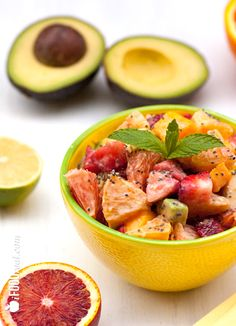 Healthy Avocado Fruit Salad with Chia Yogurt Dressing