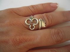 Steampunk Skeleton Key Ring- Clover Ring- Key To My Fortune- Sterling Silver Finish