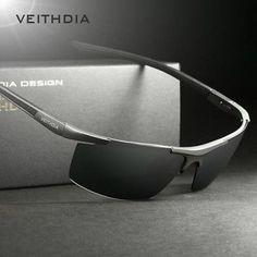 Veithdia New Men's Aluminum Polarized Sunglasses Square Eyewear Driving Glasses Sport 6588 Black Blue 100% Uva & Uvb Anti-reflective Gradient Mirrored China 132 Mm