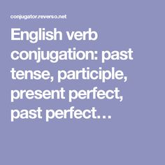 English verb conjugation: past tense, participle, present perfect, past perfect…