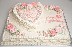Bethel Bakery AN1 - Stacked Heart Anniversary Cake Stacked Anniversary Cake w/Single Layer Heart.  Serves 40.