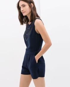 Jumpsuit with chain appliqué from Zara Zara Jumpsuit, Jumpsuit Dress, Zara Overall, Zara New, Applique Dress, New Wardrobe, Women's Summer Fashion, Zara Women, Holiday Outfits