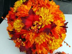 Fall Mum and Leaf Bouquet with Matching by poseysandpetals on Etsy