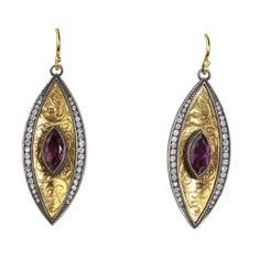 Arman Sarkisyan yellow #gold marquise earrings, available at TIVOL, featuring #pink tourmaline and #diamond.